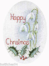 Derwentwater Designs Christmas Greetings Cross Stitch Card Kit Snowdrops