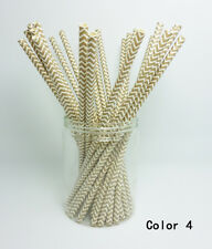 25 Paper Straws Chevron Striped Drinking Straw Party Wedding Birthday Color 4