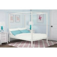 Modern Canopy Metal Frame Bed Full Size White Bedroom Furniture Home