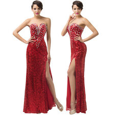 New Red SEQUINS Long Cocktail Party Wedding Evening Gown Bridesmaid Prom Dresses