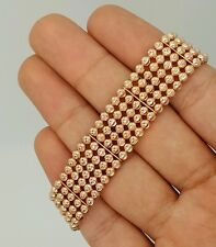 NEW 14K 585 ROSE GOLD FIVE ROW BALL DESIGNER ADJUSTABLE WIDE BRACELET 7-8 Inches