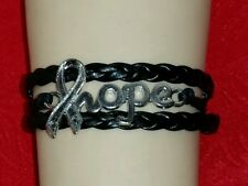 "MELANOMA HOPE,LEATHER ADJUSTABLE BRACELET-6 1/2""-8 1/2"" BLACK - CANCER - #2"