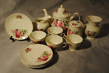 EXQUISITE VINTAGE BAUM BROTHERS FORMALITIES TEA POT SET PINK ROSES 12 PIECE SET