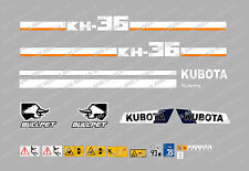 KUBOTA KH36 MINI DIGGER COMPLETE DECAL SET WITH SAFETY WARNING SIGNS