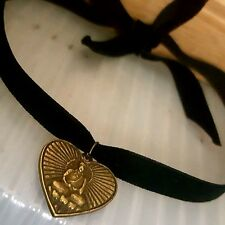 Black Velvet Antique Gold Heart Buddha Choker Self Tie Bow Necklace