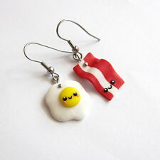 Egg and Bacon Funny Miniature Food Earrings Easter Gifts For Friends Outfit