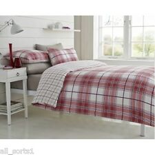 DOUBLE BED SIZE DUVET SET WHITE TARTAN PRINT SQUARES CHECKED LINES RED WINE