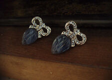 Vintage Butler & Wilson Light Sapphire Crystal Bow and Blue Quartz Earrings