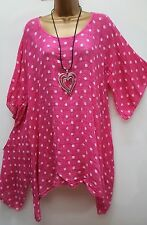 New Pink Spotty Lagenlook Thin Cotton Blend Tunic Top uk 16 18 20 22 24 52""