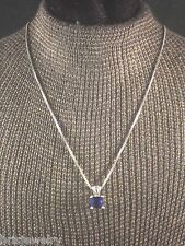 Sterling Silver Necklace & Earring Set with Blue Stones