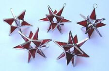 Lot of 5 Stained Glass Moravian RED STARS Iridescent CHRISTMAS   Ornament !