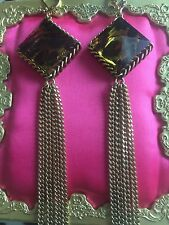 Betsey Johnson Vintage Leopard Lucite Block Pyramid Spike Gold Chain Earrings