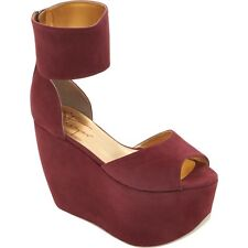 $1,090 AUTH NIB NEW WALTER STEIGER Wine Color Ankle Cuff Platform Wedge Sz 7