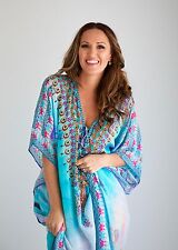 Kaftan dress, embellished Viscose Morrocan inspired print relaxed fit kaftan