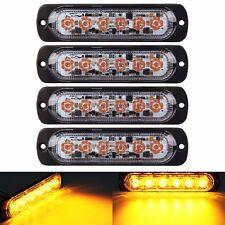 4pcs 3W Super Bright Amber 6-LED Flash Emergency Hazard Warning Strobe Light Bar
