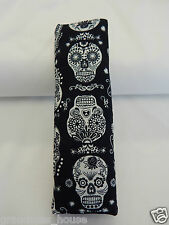 Seat Belt Cover Fits Standard Seat Belt -Glow In The Dark Sugar Skulls On Black