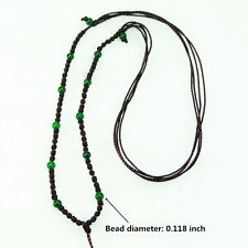 3mm Green Agate bead Fine Necklace , Can Adjust Hand-woven beaded rope
