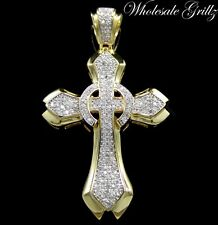 NEW!!! $249 MENS 14K GOLD GP SIMULATE DIAMOND HIP HOP CROSS PENDANT JESUS PIECE!