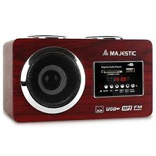 PORTABLE HIFI STEREO BOOMBOX SYSTEM FM RADIO MP3 SPEAKER USB SD AUX - BROWN