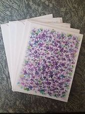 VTG Hallmark Blank Cards 4 with Envelopes Purple Flowers Unused