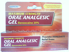 ORAL ANALGESIC GEL Maximum Strength Benzocaine 20% 0.42 Oz Pain Relief Toothache