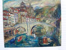 """SOURDILLON Berthe (1895-1976)) """"Le Pont"""" Huile expressionniste sur toile 1940"""