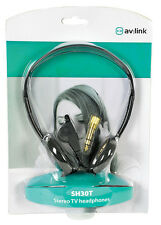 AV:Link 101.306 SH30T Stereo Lightweight TV Headphones With Extra Long Lead New