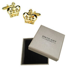 Mens Gold Royal Crown Cufflinks & Gift Box By Onyx Art