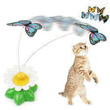 Electric Rotating Butterfly Steel Wire Teaser Funny Play Toy for Cat Kitten Pet