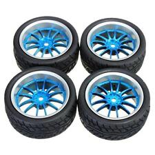 1:10 On Road Flat Racing RC Car Rubber Tires Wheels Tyres 12 Spoke Rims  - UK