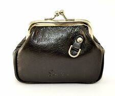 Traditional Ladies Quality Black Leather Vintage Coin Purse Stratton of Mayfair