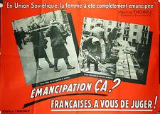 Affiche politique 1950's feminisme URSS Paix et Liberté émancipation femme