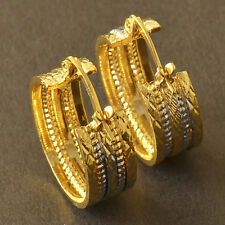 HOT SALE 9K Yellow & White Gold Filled Womens Embossed Hoop Earrings F6043