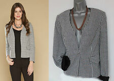 MONSOON Black White Dolly Dogtooth Jacket Blazer UK 12  EU 40 Formal Casual