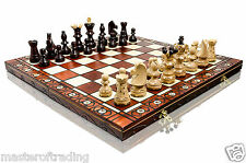 Original AMBASSADOR DE LUX Premium Quality Hand Crafted Large Wooden Chess Set!
