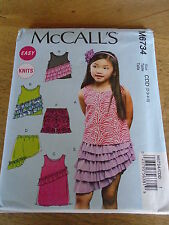 "PATRON  ""McCalls ""  ROBE SHORT JUPE TUNIQUE A FROUFROU T 6  A 8 ANS N°6734 CL"