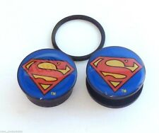"PAIR-Superman DC Comics Acrylic Screw On Plugs 25mm/1"" Gauge Body Jewelry"