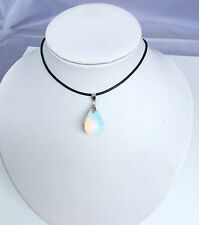 "Natural Opalite Opal Genuine Leather Necklace Teardrop Pendant 18"" Gift"