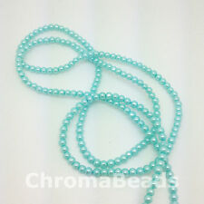 3mm Glass Faux Pearls strand - Turquoise (230+ beads) jewellery making, craft