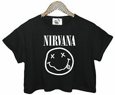 NIRVANA SMILEY T SHIRT FUNNY CROP TOP TEE HIPSTER RETRO GRUNGE ROCK KURT COBAIN
