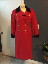 Vtg 60s ROTHSCHILD Wool Overcoat * RED w Black Velvet * Swing Coat Jacket USA 10