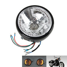 """7"""" Schwarz Motorrad Scheinwerfer LED Head Light Licht Blinker H4 35W für Harley"""