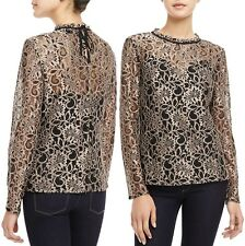 Genuine Ted Baker London Nomino Metallic Brown Lace Top