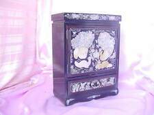 JEWELRY CHEST BLACK LACQUER VERY LARGE BOX W/ MOTHER OF PEARL INLAY