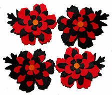 Halloween Felt Flowers Die Cuts Trimmings Floral Black Red Appliques Sizzix