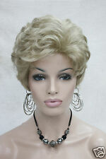 Charming Curly Light Golden Blonde Short Wavy Synthetic Hair Full Lady' Wig