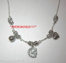 GUESS Exclusive G Logo Necklace Heart Collier Rhinestones Silver Tone Gift Pouch