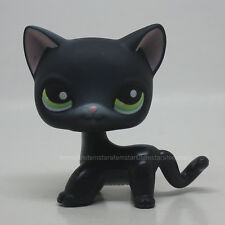 #336 Littlest Pet Shop Black Short Hair Kitty Cat Green Eyes Animal Toy LPS