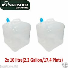 2 x 10L Water Carrier Container Foldable Collapsible With Tap Camping Bottle