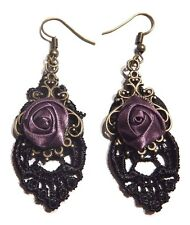 GOTHIC BLACK LACE EARRINGS W/ PURPLE SATIN ROSES steampunk vampire Victorian T3